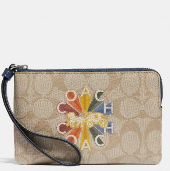 Coach Radial Rainbow Corner Zip Wristlet Wallet